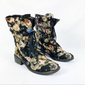 Sam Edelman Floral Canvas Darwin Combat Boots
